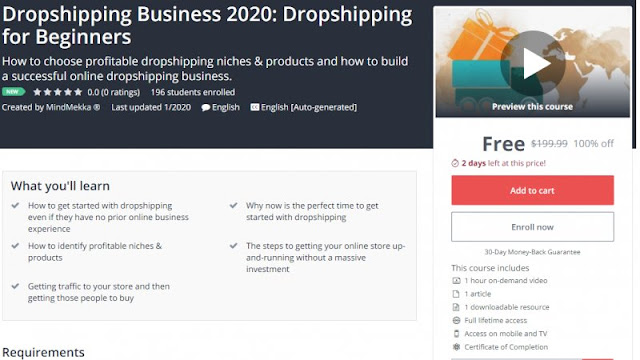[100% Off] Dropshipping Business 2020: Dropshipping for Beginners| Worth 199,99$