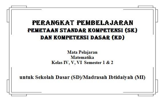 Pemetaan SK KD Matematika Kelas 4, 5, 6 SD/MI KTSP Semester 1 dan 2