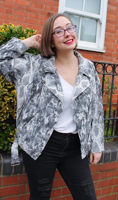 Femme Luxe Animal Snake Print Biker Jacket