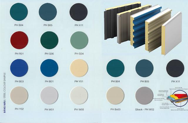 bảng màu cho tấm panel trường lộc, panel vách trong  và panel trần chống cháy