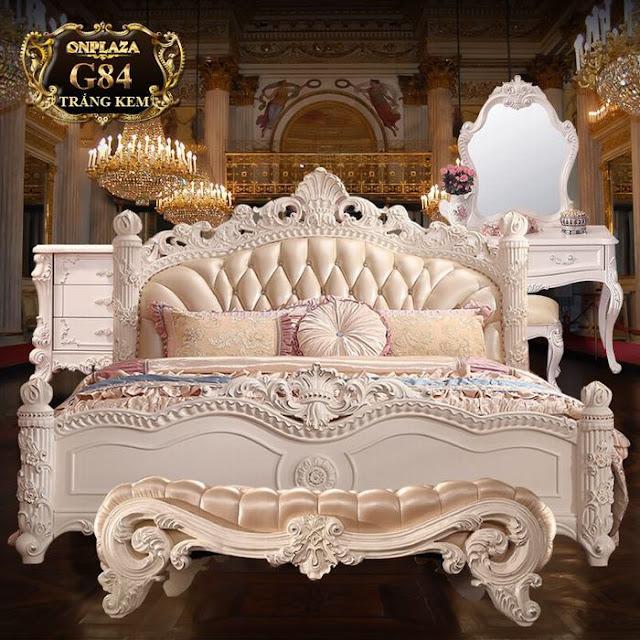 Bộ phòng ngủ tân cổ điển màu trắng cao cấp G84.