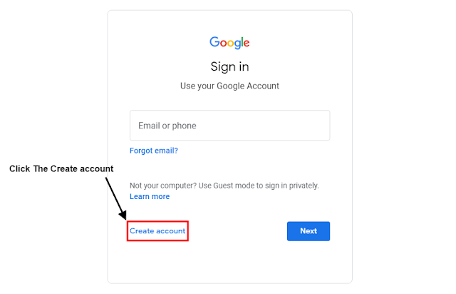 Step #3 Create Account पर Click करे