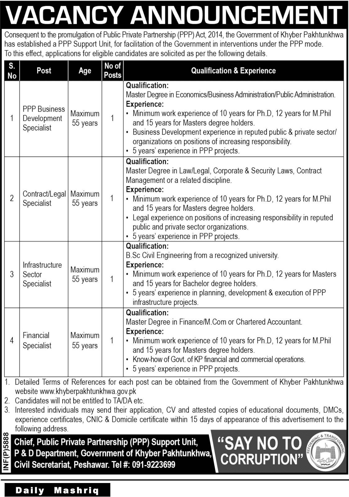 Jobs In Khyber Pakhtunkhwa Public Private Partnership Oct 2017