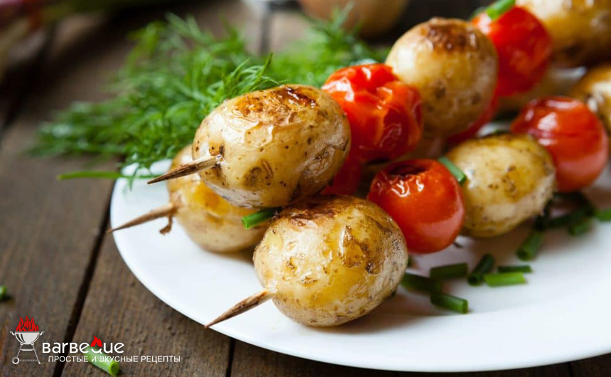 Картофель и помидоры, жаренные на гриле