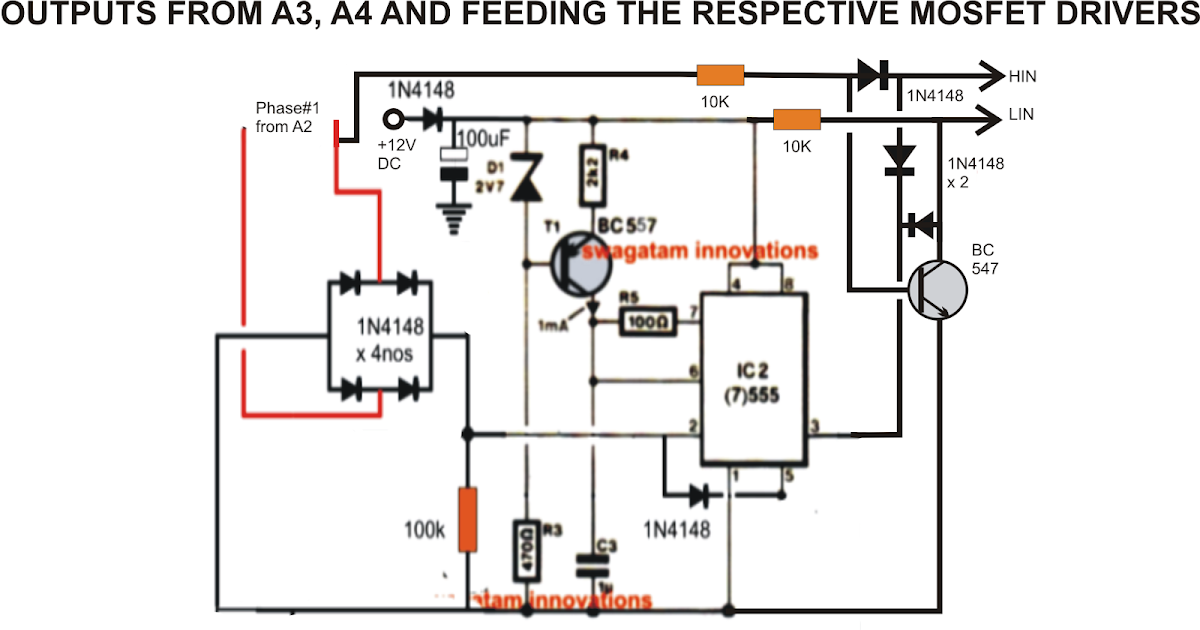 driving three phase motor on single phase supply - circuit diagram