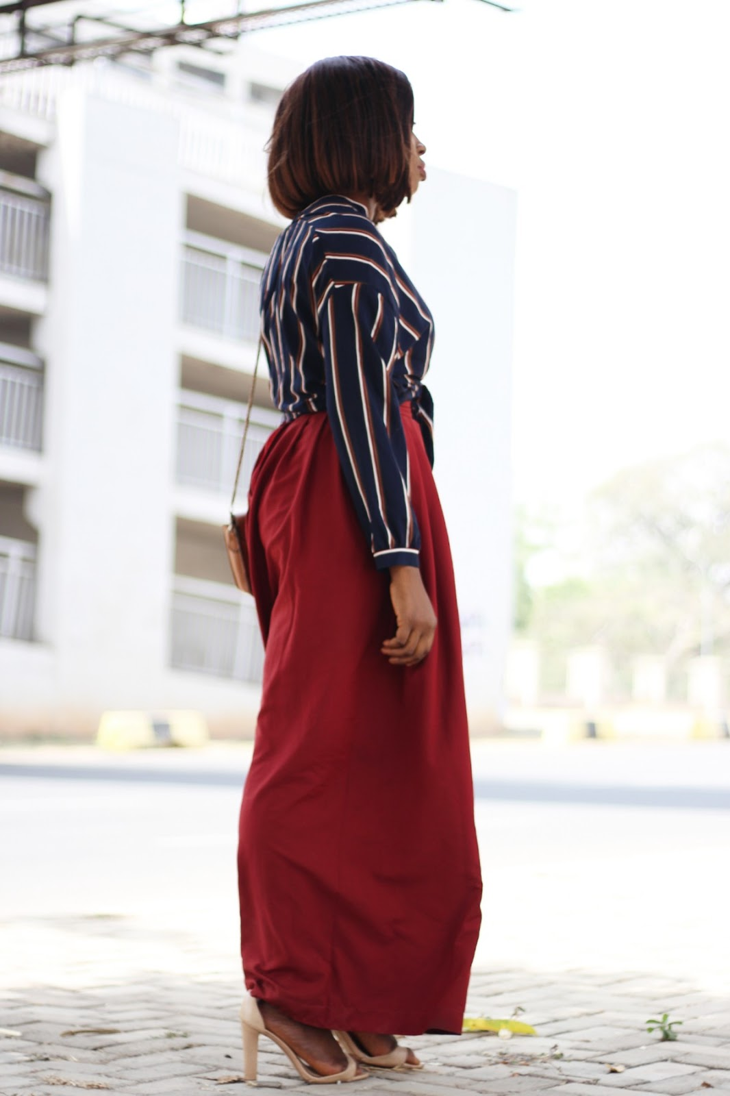 palazzo trousers, burgundy, maroon, striped top, navy blue, wide leg trousers