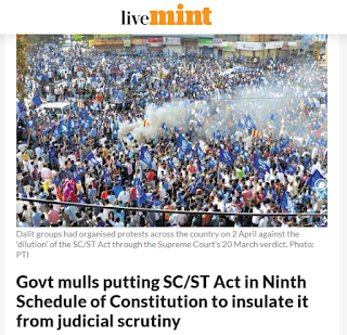 Govt mulls putting SC/ST Act in Ninth Schedule of Constitution to insulate it from judicial scrutiny