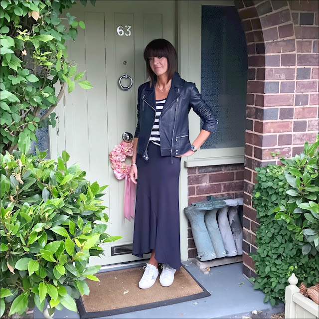 My midlife fashion, marks and spencer, golden goose superstar low top leather trainers, massimo dutti leather biker jacket, j crew stripe linen tank tee, marks and spencer long ruffle a line skirt,