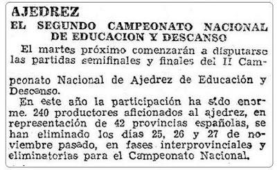 Recorte de ABC de 15 de diciembre 1946 sobre el Club Ajedrez Lérida
