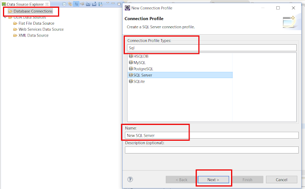 Step 2 - How to create Database connection profile in Eclipse