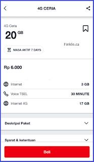 Paket Ceria 4G 20GB Dari Telkomsel