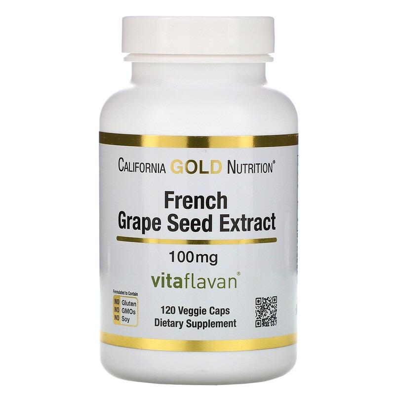 California Gold Nutrition, VitaFlavan, экстракт косточек французского винограда, полифенольный антиоксидант, 100 мг, 120 растительных капсул