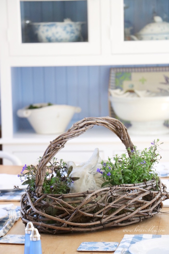 French country floral bunny basket as centerpiece is easy to create with only 3 items