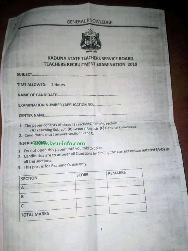 KSTSB Teachers Recruitment Past Questions 2021