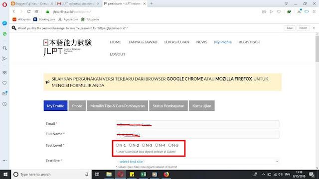 Cara daftar JLPT online