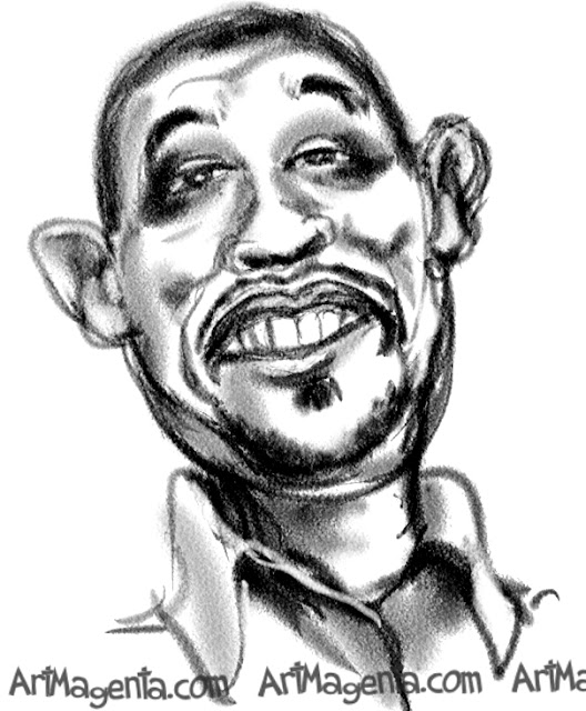 Forest Whitaker caricature cartoon. Portrait drawing by caricaturist Artmagenta