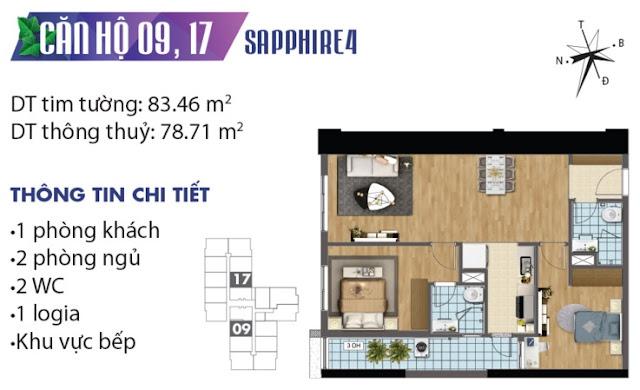 Mặt bằng thiết kế căn số 9 và 17 tòa Sapphire 4
