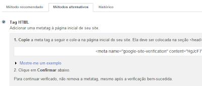 Ferramentas para webmaster no site webnode