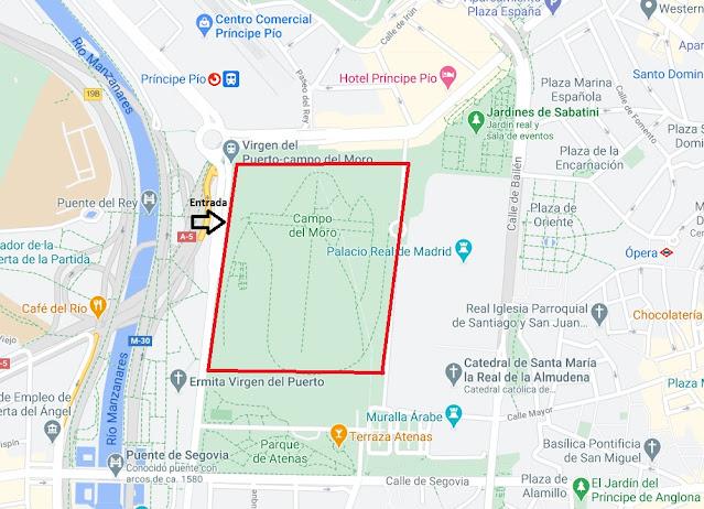 Como llegar al Campo del Moro de Madrid