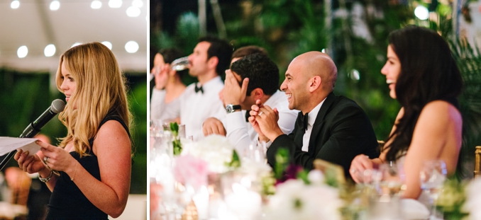 the maid of honor makes her speech and makes the bride and groom laugh