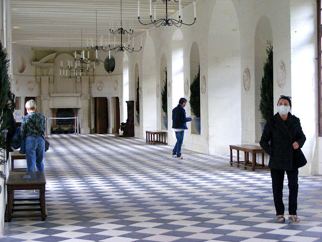 Long gallery at the Chateau de Chenonceau during Covid19 restrictions.  Indre et Loire, France. Photographed by Susan Walter. Tour the Loire Valley with a classic car and a private guide.