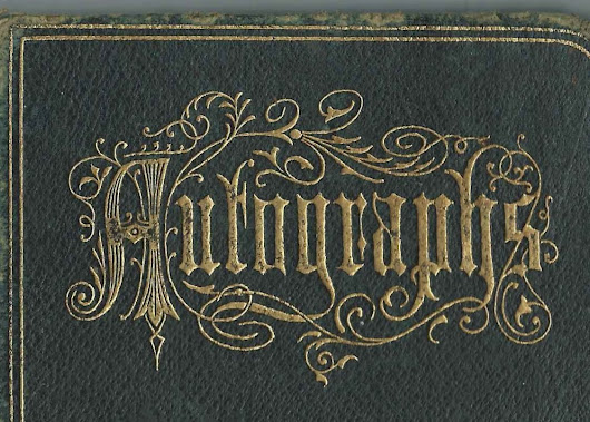 1877-1891 Autograph Album from the Brownfield, Maine; and Bridgton, Maine, Area; 11 Calling/Business Cards Tucked In