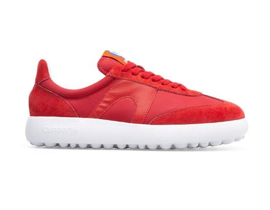 Pantofi sport dama rosii cu detalii din piele intoarsa