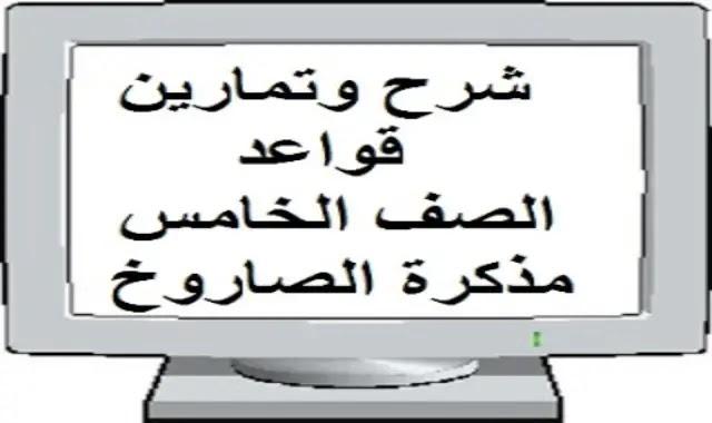 شرح قواعد انجليزي الصف الخامس مع التمارين -وورد- مستر محمد شعبان موقع درس انجليزي