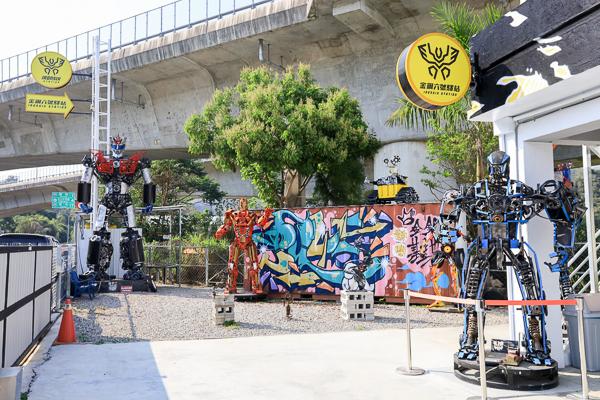 南投埔里金鋼六號驛站(原金鋼基地)好多巨型機器人像是電影場景
