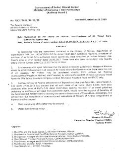 guidelines for air ticket on official tour railway board order