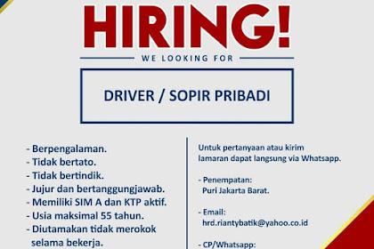 Info Lowongan Kerja Driver/Sopir Rianty Batik Jakarta