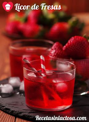 Licor Casero de Fresas sin lactosa