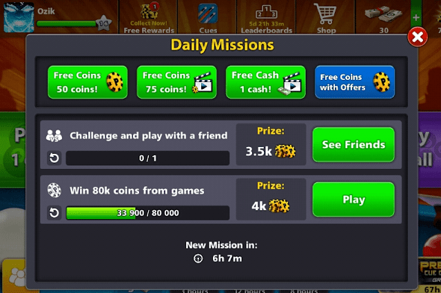 Daily Mission Coin & Cash Gratis 8 Ball Pool