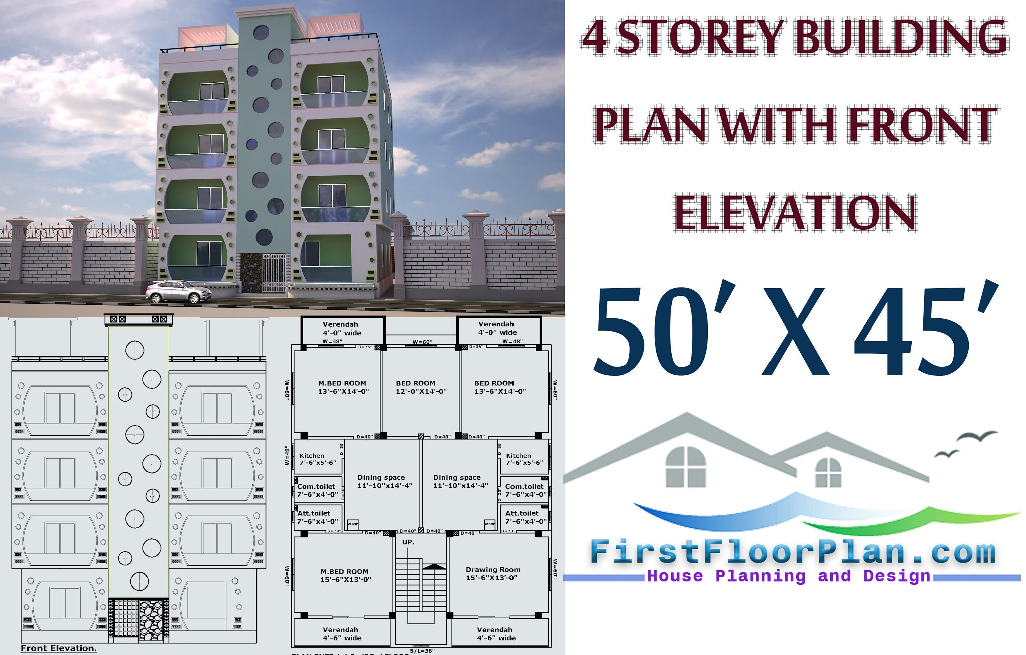 4 storey building plan with  front elevation