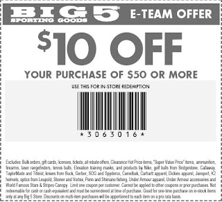 graphic about Big 5 Sporting Goods Printable Coupon called Significant 5 Wearing Products Printable Discount codes Could possibly 2018 - Pleasant
