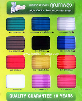 Bảng màu tấm lấy sáng Polycarbonate PolyTop Thái Lan - Dày 6mm