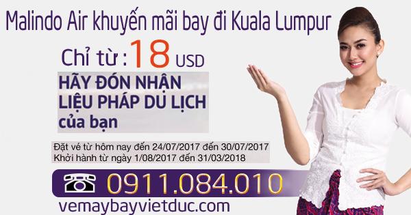 vé khuyến mãi đến Kuala Lumpur giá chỉ từ 18 usd ngày 26/07/2017
