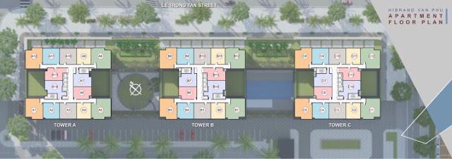 Mặt bằng tổng thể 3 tòa A-B-C lô H-CT2 chung cư The K Park