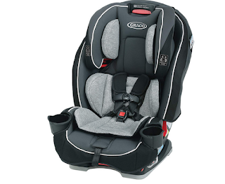 It just takes one swift motion to adjust the height of the harness and headrest with the Graco Slimfit.