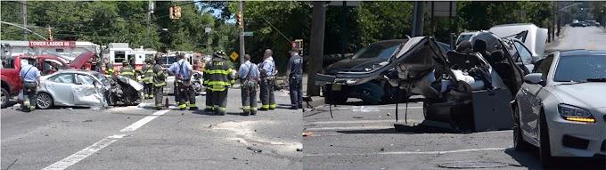 Un anciano muerto y 12 heridos por choque en cadena de numerosos vehículos en Staten Island