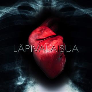 Läpivalaisua. Levyn kansikuvan. Röngenkuva ja punainen sydän.