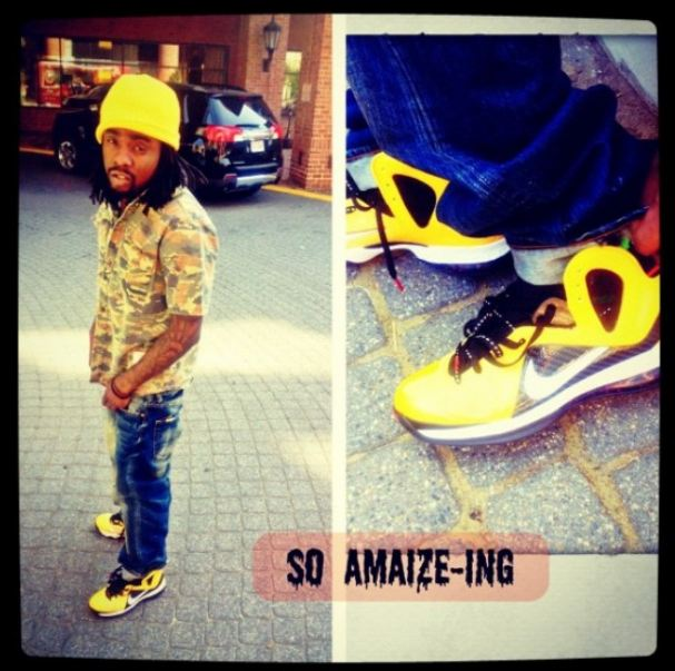 new concept c880a 6255b Who Was Spotted Rockin These Nike LeBron 9 Elite Varsity Maize Sneakers