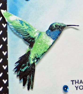 Stampin' Up! Picture Perfect hummingbird on watercolored background. Handmade hummingbird card by Lisa Young, Add Ink and Stamp