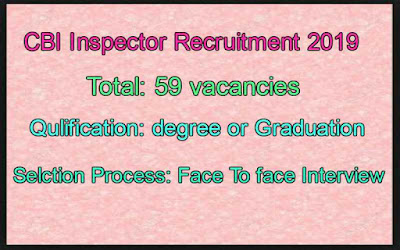 CBI Recruitment 2019 For Inspector Job huge Vacancies No Written Test