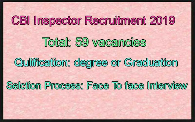 CBI Recruitment 2019 For Inspector Job huge Vacancies No Written Test