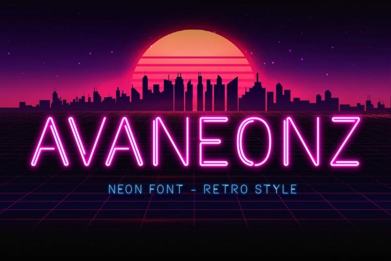 Avaneonz Font - Retro Neon Font