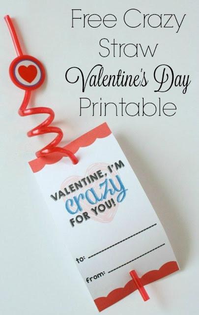Crazy Straw Valentines, non-candy valentines, kids valentines, DIY valentines