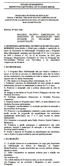 Prefeitura de Guajará-Mirim anuncia Processo Seletivo