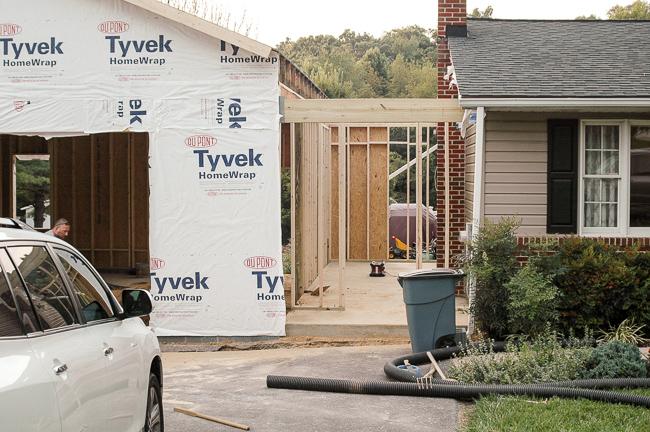 Building garage and mudroom addition